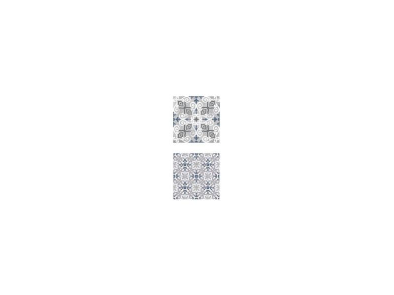 Lot de 2 stickers patères effet carré de mosaïque - l 10 x l 10 cm - motifs bleus et gris