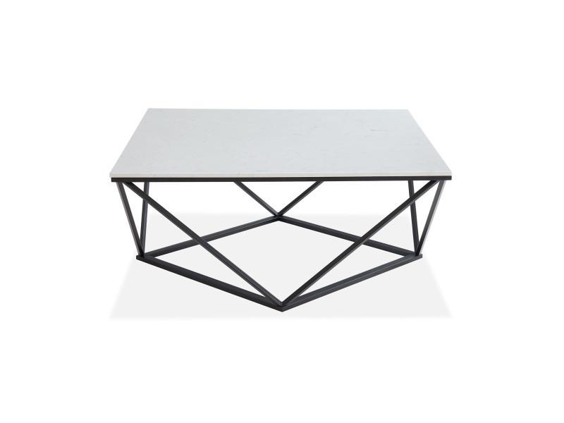 Table basse carrée marbre blanc & métal noir - roxy - elle decoration