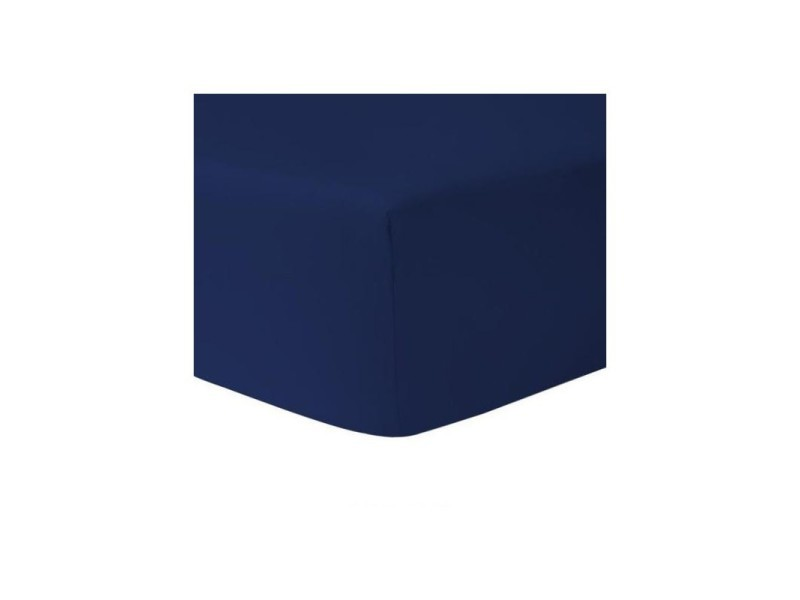Drap housse 160 x 200 bleu marine