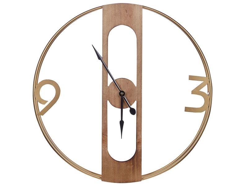 Horloge murale ø 50 cm effet bois clair mulhouse 248273
