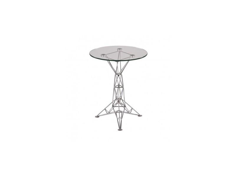 Table d'appoint design verre et acier chromé doggy