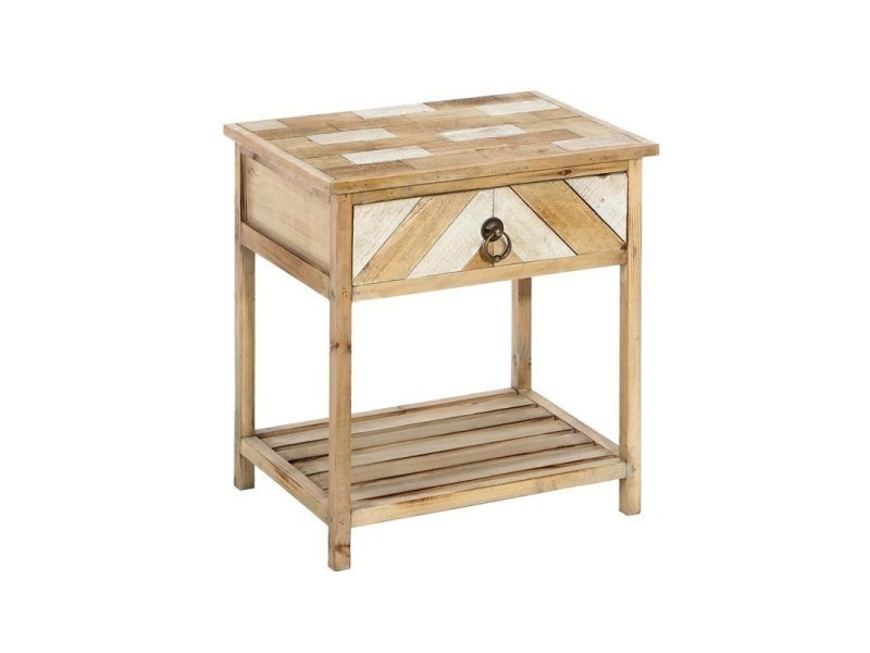 Table de chevet bois clair aspect lambris parkets l 47 x l 35 x h 49 ne - Table de chevet bois clair ...