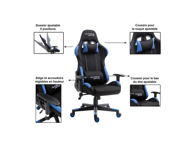 chaise de bureau gaming swift fauteuil gamer chair style racing racer si ge rev tement tissu. Black Bedroom Furniture Sets. Home Design Ideas