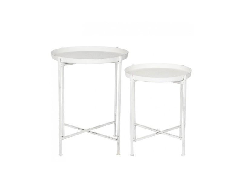 Table gigogne metal blanc - 1 pièce modele l A58175