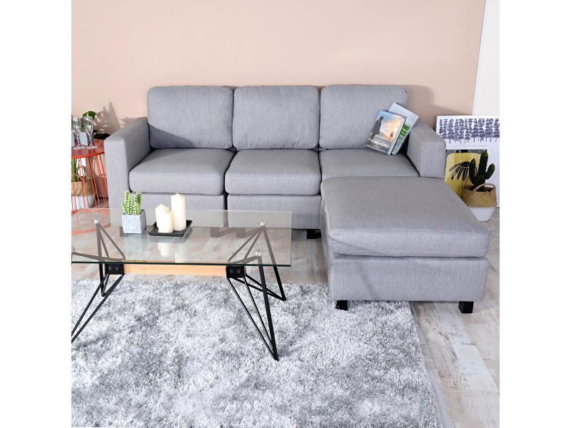Canapé d'angle 3 places modulable réversible tissu gris