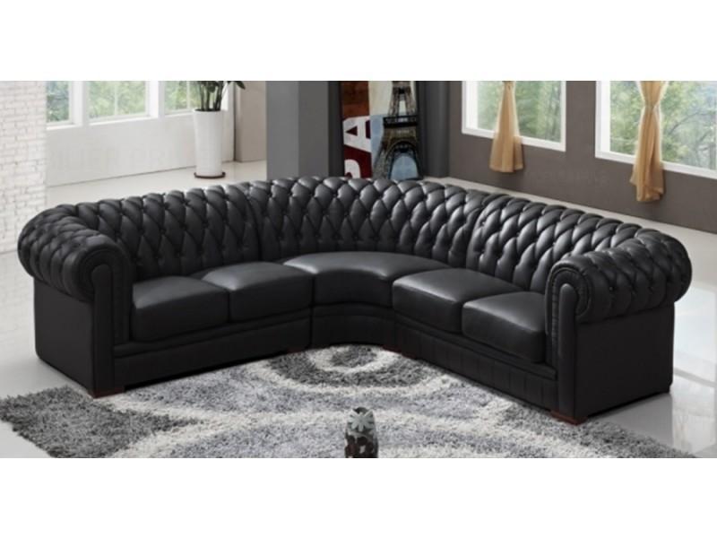 Canapé d'angle capitonné cuir chesterfield noir-