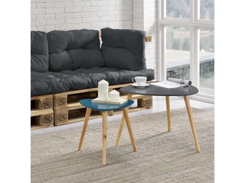 en.casa]® table de salon en kit de 2 gris et turquoise pieds ...