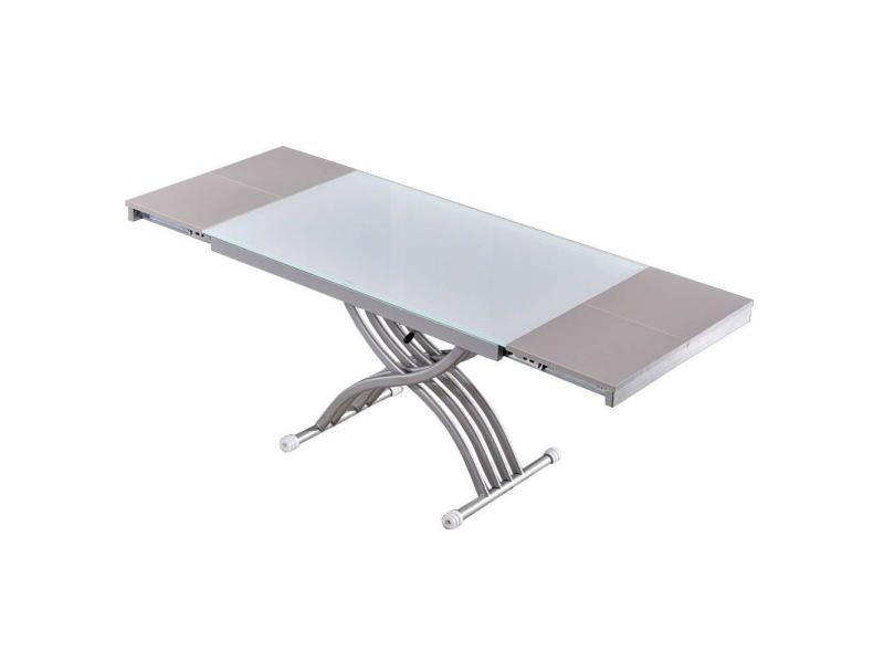Table basse newform relevable extensible, plateau en verre extra blanc. 20100860863