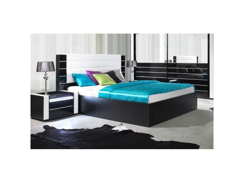 Lit adulte 180cm design lina noir et blanc brillant + tête de lit en simili cuir