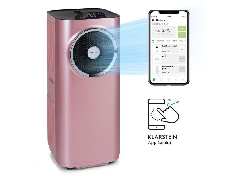 Klarstein kraftwerk smart 10k - climatiseur mobile connecté - 10000 btu - pour 29 à 49 m² - classe a - rose gold