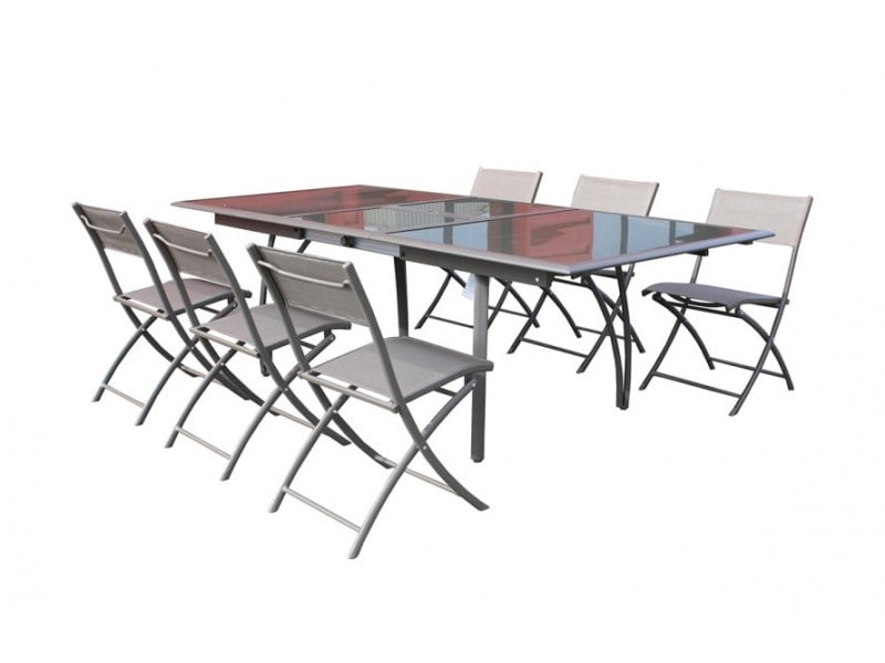 Salon de jardin table et 6 chaises cappuccino conforama for Table et 6 chaises conforama
