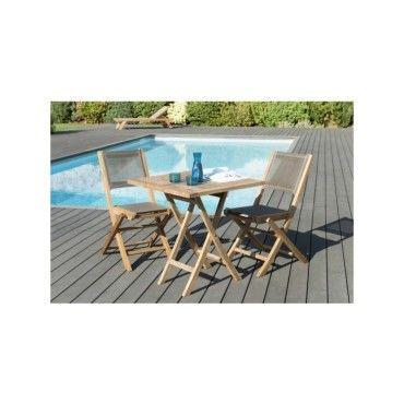 Salon de jardin en teck et textilène avec 1 table carrée pliante et ...