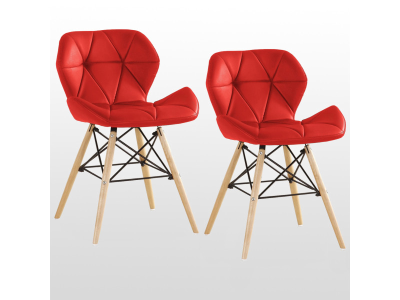 Lot de 2 chaises design en simili cuir rouges - cecilia eiffel