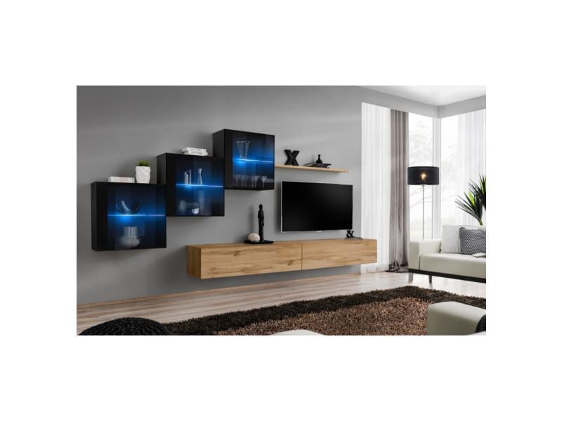 Ensemble mural - switch xx - 3 vitrines - 2 bancs tv - 1 étagère - bois et noir - modèle 2
