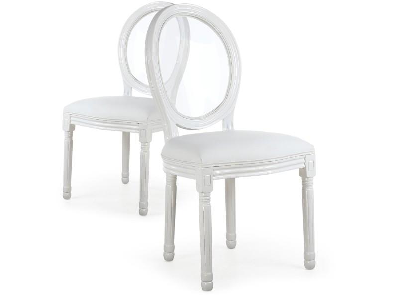 Vente chaises glass blanc xvi Lot de de 2 COTECOSY louis mN08nw