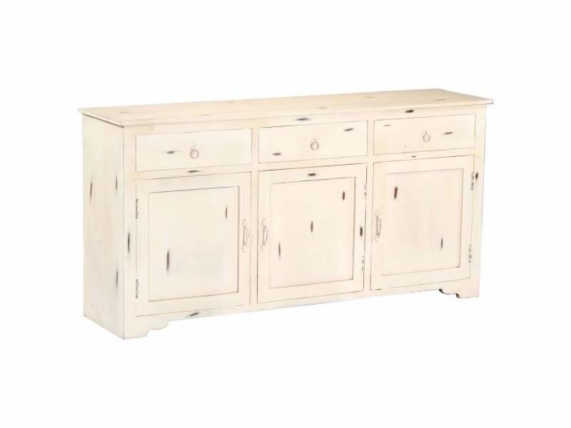 Buffet bahut armoire console meuble de rangement blanc 160 cm bois de manguier massif helloshop26 4402184
