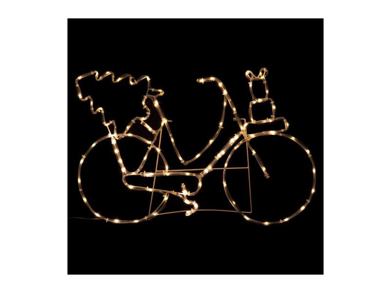 Feeric christmas - déco de noël lumineuse vélo en 2d tube 104 led blanc chaud l 60 cm