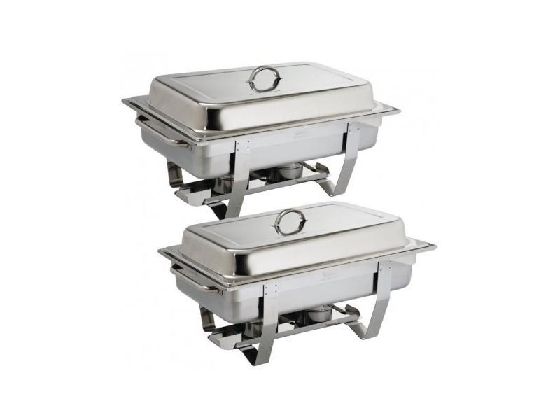 Chafing dish inox 9 l - lot de 2 -