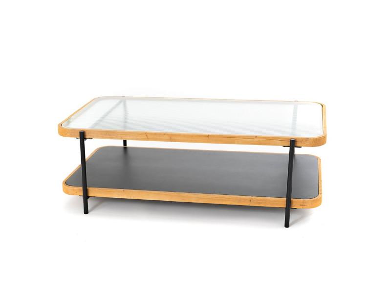 Table basse rectangle léon verre bois métal - amadeus