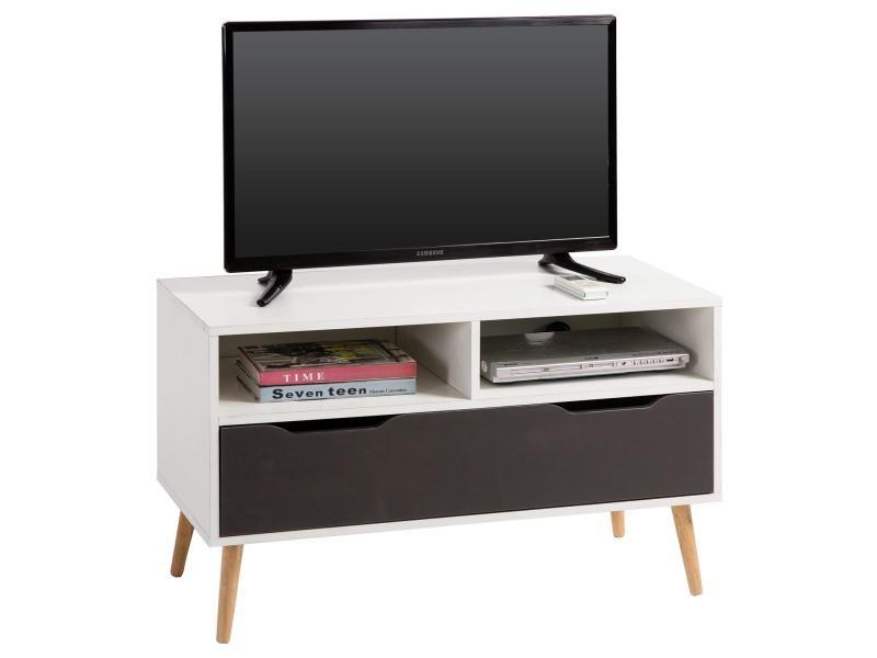 Meuble tv genova banc télé 90 cm style scandinave design vintage avec 1 tiroir et 2 niches, décor blanc mat et gris anthracite