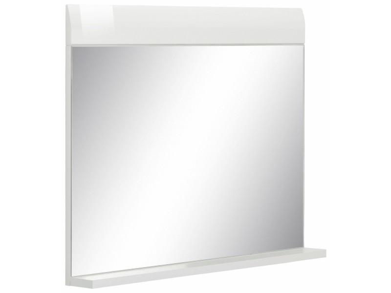 Miroir de salle de bain avec tablette 60 cm en aggloméré ...