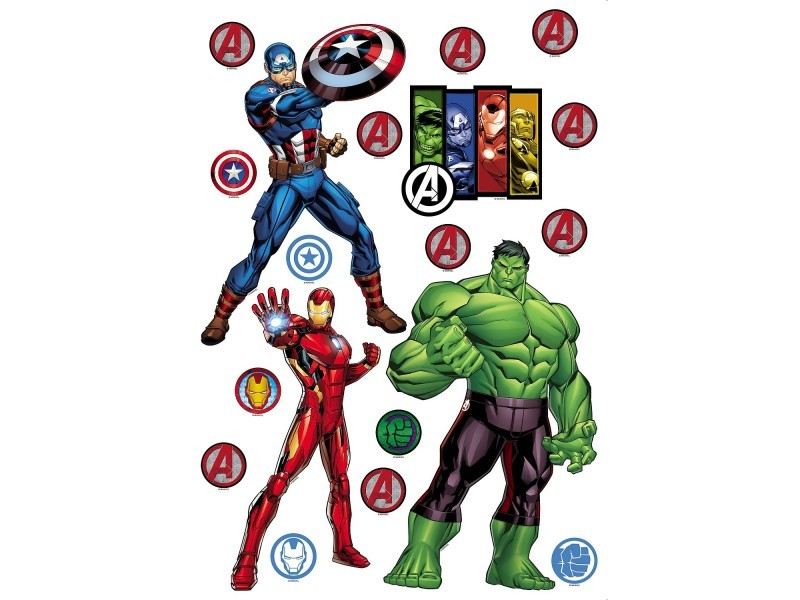 Stickers marvel avengers 3 personnages captain america, hulk, iron man - planche de 42.5 cm x 65 cm