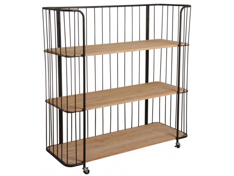 Etagère style industriel 3 niveaux en bois et métal - dim : 115 x 42 x 110 cm -pegane-