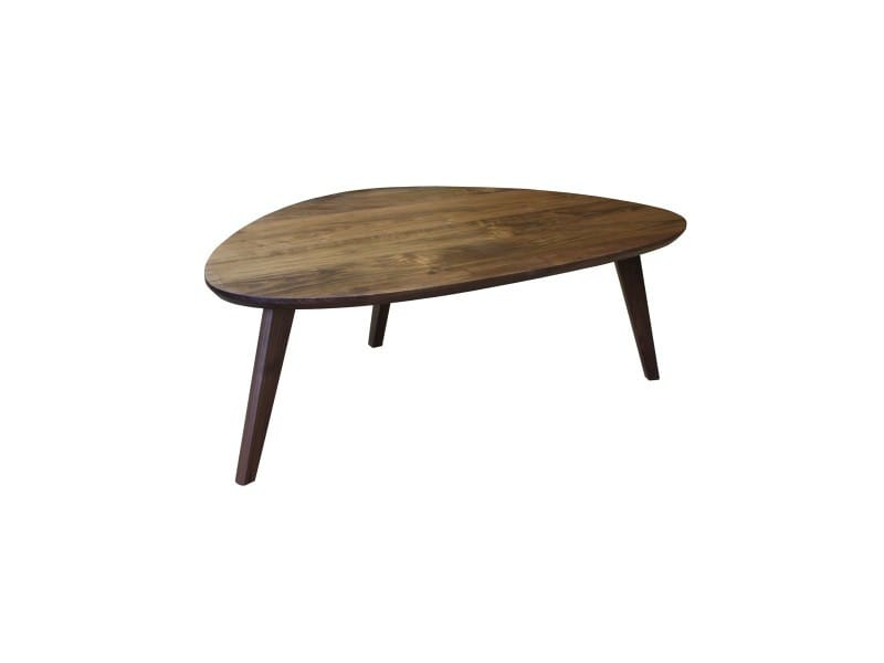 Table basse noyer massif, forme galet, made in france