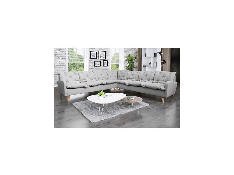 Canapé d'angle panoramique 8 places en microfibre gris - twist