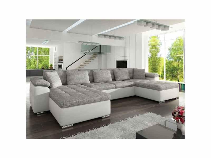 Canapé d'angle panoramique capitonné en tissu et simili gris et blanc ana