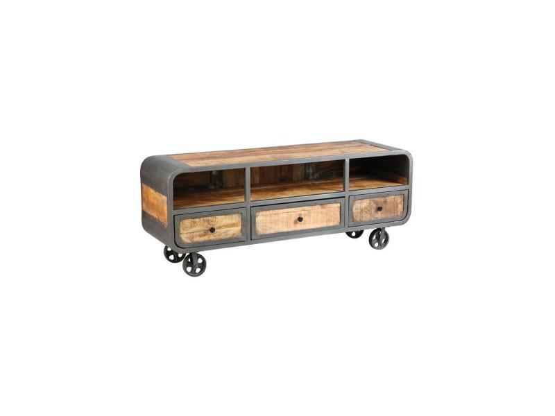 Meuble tv 3 tiroirs acier/bois massif - chalerston - l 150 x l 45 x h 60 - neuf