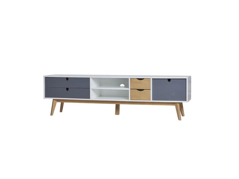 Meuble tv 4 tiroirs 1 porte blanc/bois/gris - nano - l 180 x l 37 x h 50 - neuf