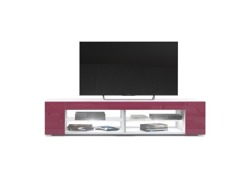 Meuble tv blanc mat façades en fuchsia laquées led blanc