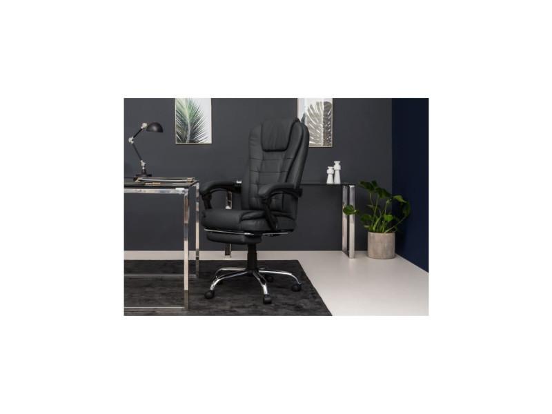 Mack chaise de bureau simili noir style industriel l 61 x p 54