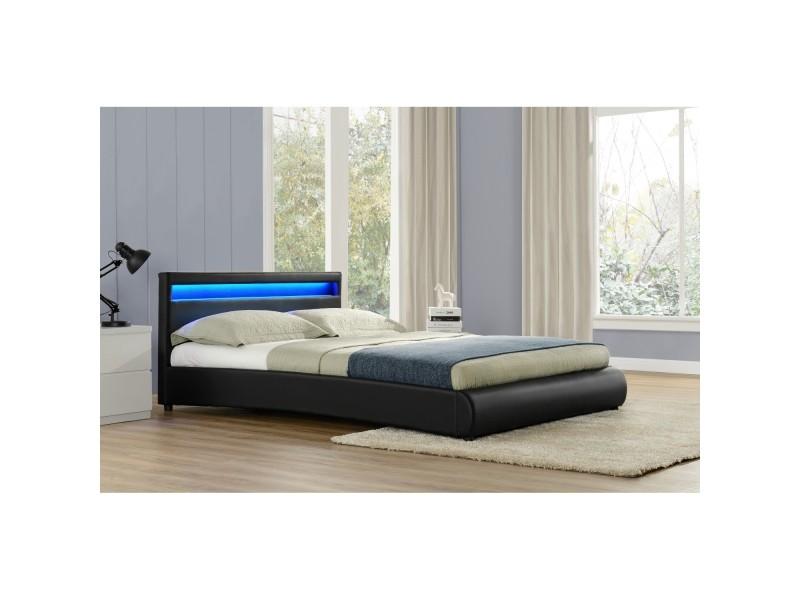 lit birmingham cadre de lit en simili noir avec led int gr es 160x200cm vente de lit. Black Bedroom Furniture Sets. Home Design Ideas