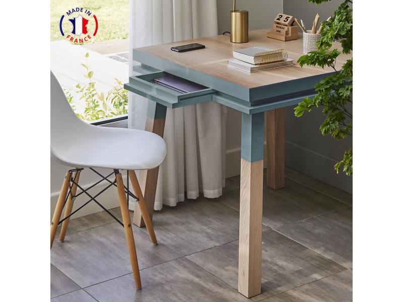 Bureau carré en bois massif avec tiroir bleu gris lehon - 100% made in france