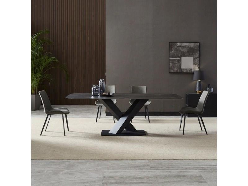 Table à manger marbre artificiel noir puro