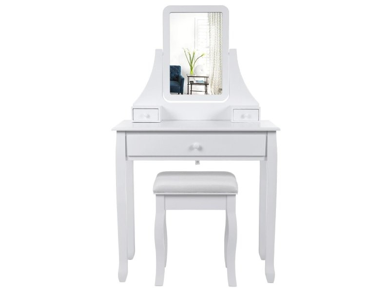 coiffeuse bois avec grand miroir et 3 tiroirs et tabouret table maquillage blanc helloshop26. Black Bedroom Furniture Sets. Home Design Ideas