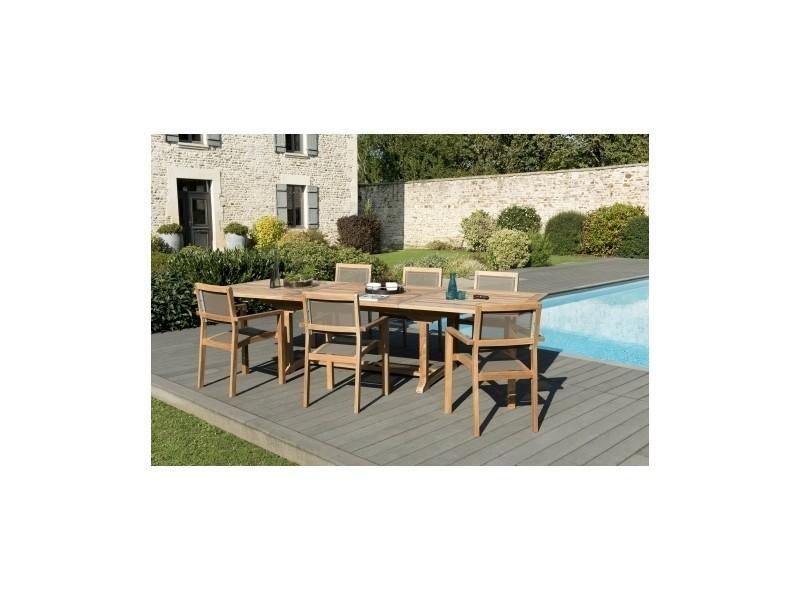Salon de jardin en teck et textliène table rectangulaire ...