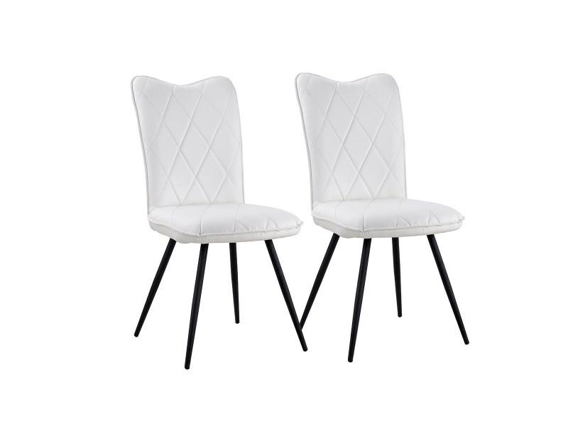 Martine - set de 2 chaises scandinaves - simili cuir - coloris blanc