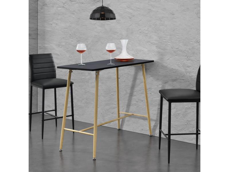 Table de bar rectangulaire design plateau en mdf pieds en métal effet bois 110 x 50 x 90 cm noir [en.casa]