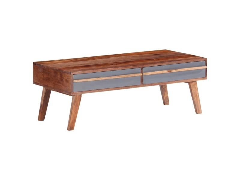 Vidaxl table basse gris 110x50x40 cm bois massif 286372