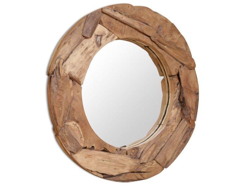 Superbe décorations gamme luxembourg miroir décoratif teck 80 cm rond