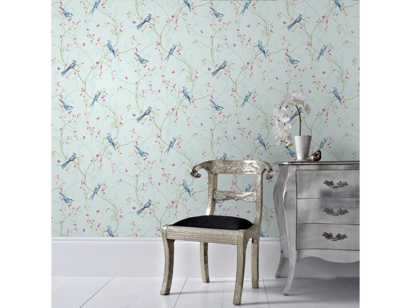 Papier peint intissé rossignol vinyle 1005 x 52cm bleu, rose 101843