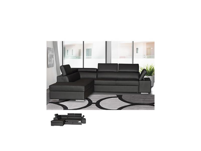 Canapé d'angle à gauche convertible en pvc noir - chicago