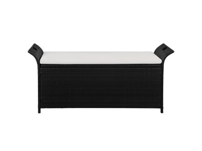 Icaverne - bancs d'extérieur gamme banc de rangement résine tressée 138x50x60 cm noir /blanc crème