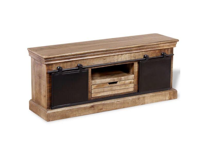 Inedit meubles selection port-louis meuble tv avec 2 portes coulissantes bois de manguier massif