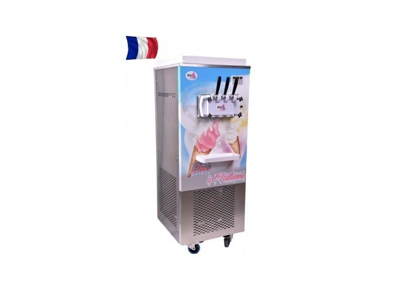 Machine à glace italienne sur roulettes triphasé - 2 parfums et 1 mixte - gris