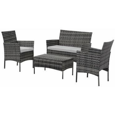 salon de jardin en r sine tress e toronto florida gris 4 places vente de habitat et. Black Bedroom Furniture Sets. Home Design Ideas