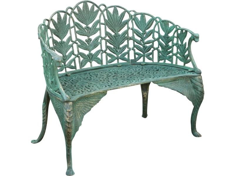 Banc de style art nouveau en font finition verte vieillie aux dimensions l110xpr60xh90 cm